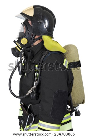 Firefighter in self contained breathing apparatus on a white background
