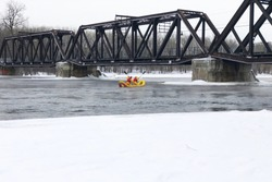firefighter rescue boat for winter river emergency