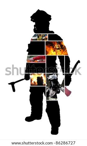 Firefighter scenes with a Silhouette of a posing firefighter on a white background