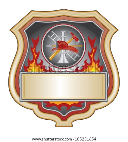 Firefighter Shield is an illustration of a firefighter or fire department shield with firefighter tools.