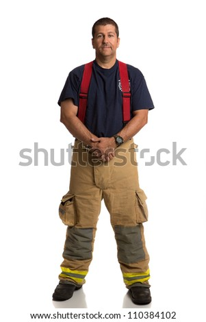 Firefighter Standing Full Body Length Portrait Isolate on Withe Background