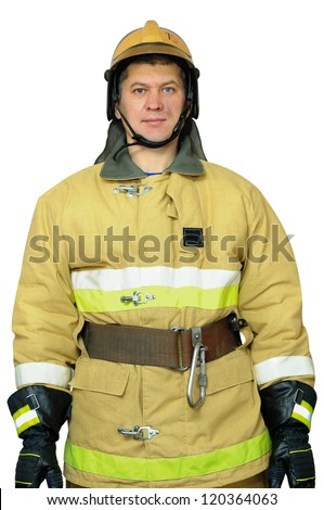 Firefighter standing with a remission of his hands. Isolated white background
