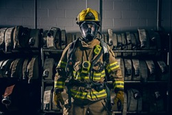 Firefighter wearing the protection gear