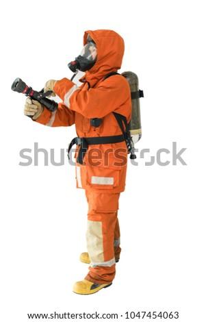 Firefighter with autonomous Impulse fire extinguishing system. Isolated on white background #1047454063