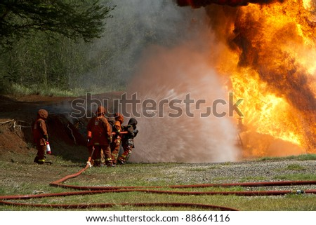 Firefighters during training