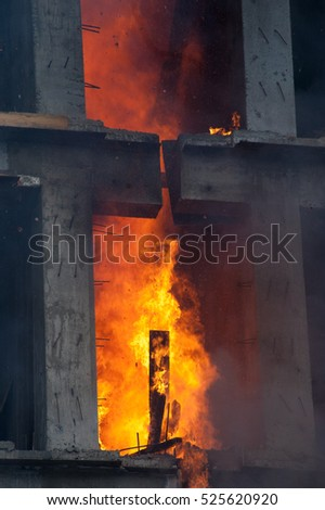 Firefighters extinguish a house #525620920