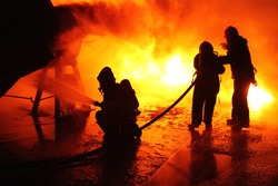Firefighters in action in Sweden.