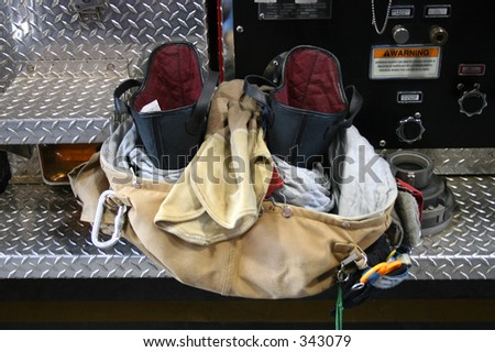 Firefighters Pants And Boots Ready To Go.