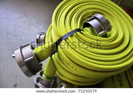 Firehose, rolled up to be used by Firefighters