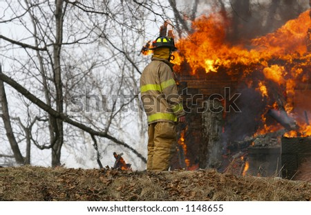 Fireman at Fire with copy space at the left
