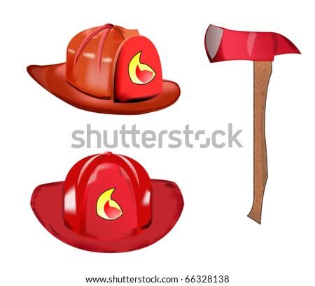 Fireman helmet and axe