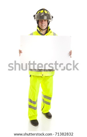 Fireman holding a blank white sign.  Full body isolated on white.