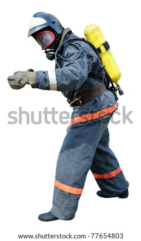 Fireman in front of the unfit for respiration environment gesticulating in front lifeguard