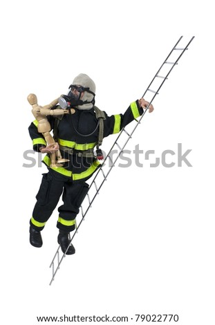 Fireman in protective gear used for fighting fires and saving lives on a ladder with a child - path included