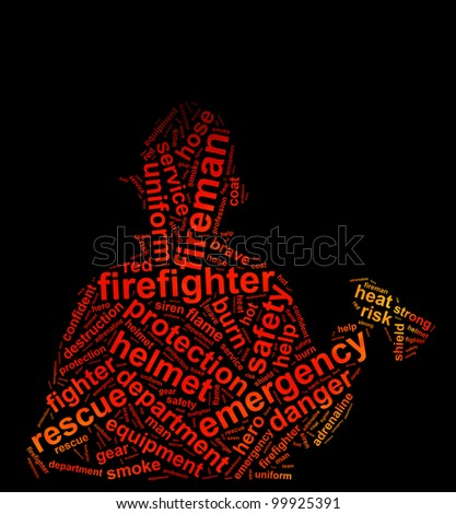 fireman info text graphic and arrangement concept on black background - stock photo