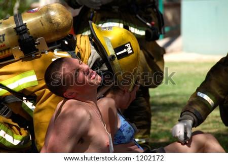 Firemen attend victim in terrorism drill