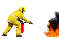 Firemen using water from hose for fire fighting at firefight training of insurance group. Firefighter wearing a fire suit for safety under the danger case.Firefighters training, Firefighters  oil gas,