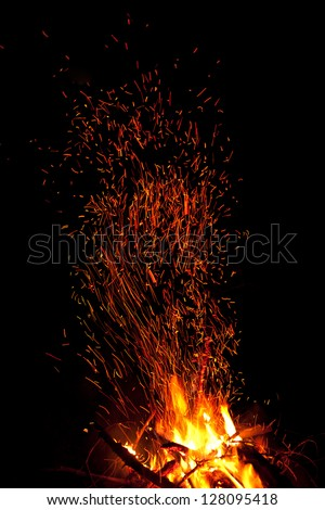 Firepalce with sparks in mountains