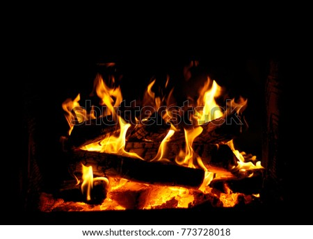 fireplace, a fireplace in the house, a fire in the fireplace, #773728018