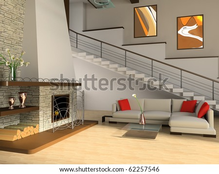 Fireplace and sofa in a drawing room against a ladder
