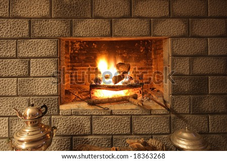 Fireplace, Bricks and teapots