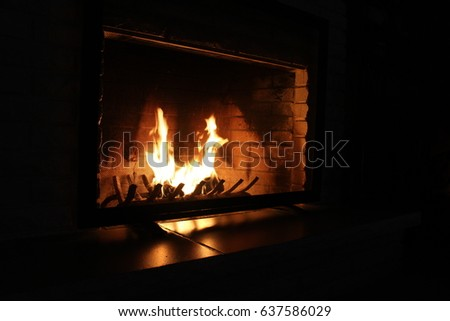 Fireplace flames burning