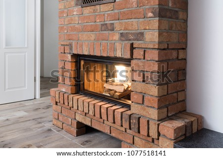 fireplace in a modern home