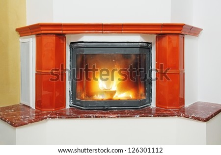 Fireplace in house interior