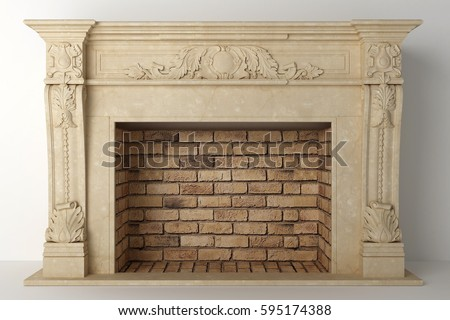Fireplace in the light interior of home #595174388