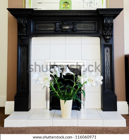 Fireplace in the lounge with Lily's