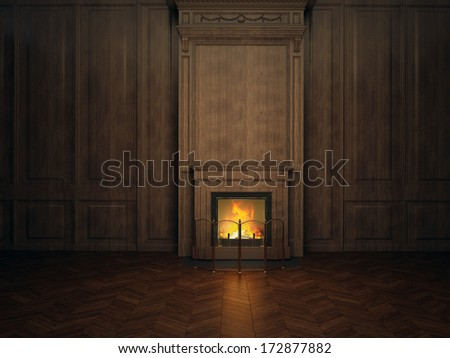 fireplace in the room paneled in wood