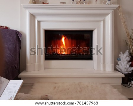 fireplace modern with white marble fire  for background