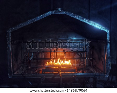 Fireplace that burns rubber like in the factory. #1495879064