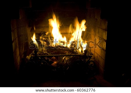 Fireplace with a burning fire