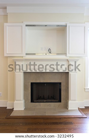fireplace with open wall cabinet for flatscreen tv. Can be paired with 3232502