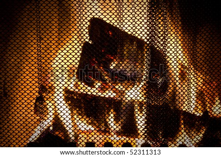 fireplace with protecting screen