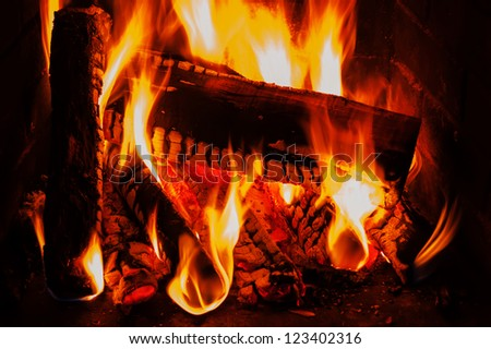 fireplace with wood and fire