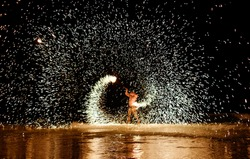 Firestarter performing amazing fire show at Koh Samed Samet island Thailand