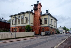 Firestation and the tower in the center of Porvoo city. Finland.
