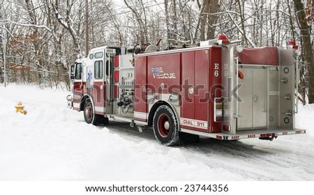 firetruck in snow