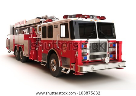 firetruck on a white background ...