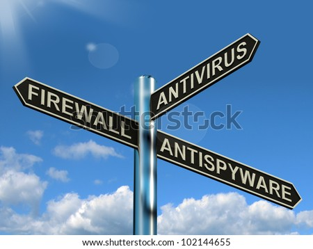 Firewall Antivirus Antispyware Signpost Shows Internet And Computer Security Protection
