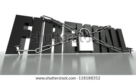 Firewall concept, safety padlock with chain