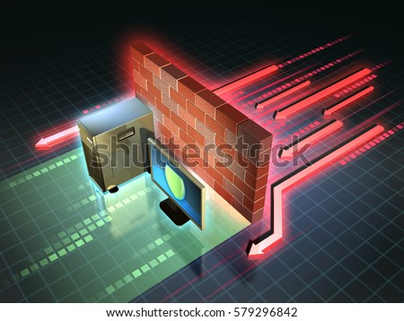 Firewall creates a safe zone for a workstation. 3D illustration. Stock photo ©