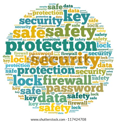 Firewall info-text graphics and arrangement concept on white background (word cloud)