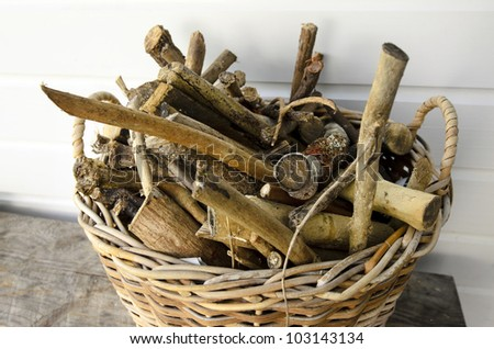 Firewood Basket full of dry wood during winter time.