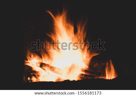 Firewood burns brightly. Light scatters darkness. Bright colorful sparkling flaming warming fire.Burning fire on black background close-up. Horizontal background #1556181173