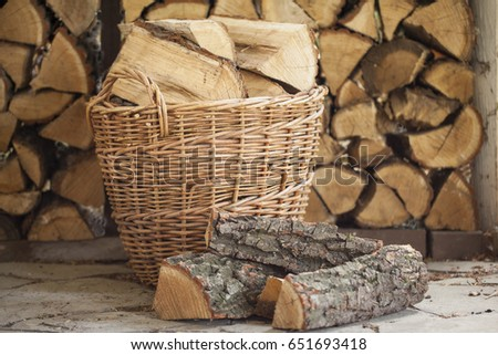 Firewood for the fireplace, barbecue. Folded firewood bbq #651693418