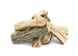 Firewood isolated on white. Oak Log Isolated on a white. Log fire wood isolated on white background with clipping path. Wooden obsolete log.