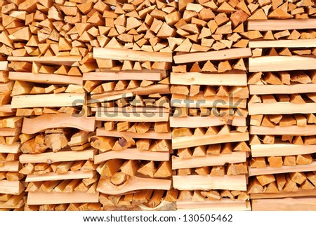 Firewood neatly settled